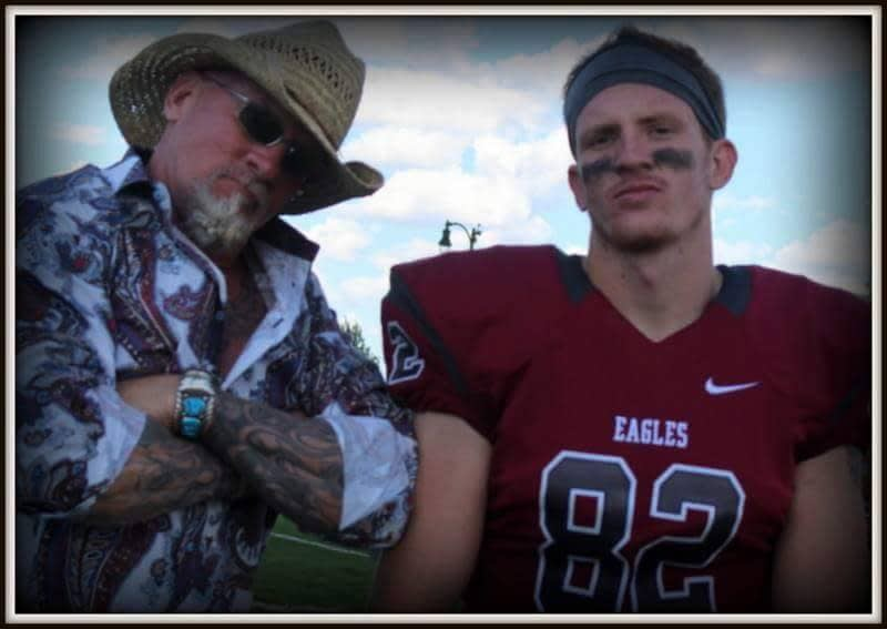 Jay Dobyns with his son Jack after a recent Chadron (Neb.) State College football game (Dobyns family photo)