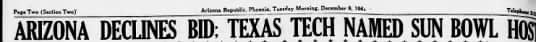 """Arizona Republci headline indicating Arizona said """"Thanks but no thanks"""" to playing on New Year's Day at the end of the 1942 season"""