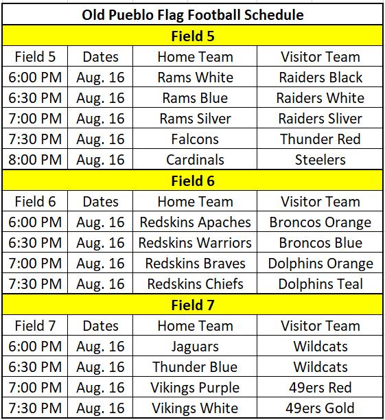 Old Pueblo Football Classic Flag Schedule