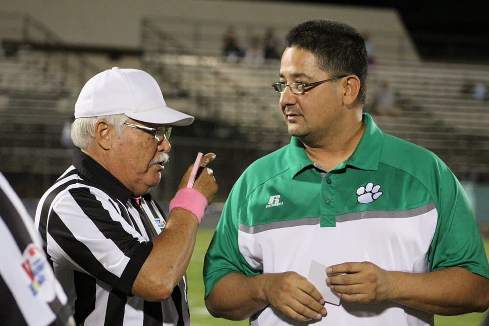 Jorge Mendivil has resurrected the Panther program. Here he is with legendary coach & referee Jerry Gastellum (Andy Morales/AllSportsTucson.com)