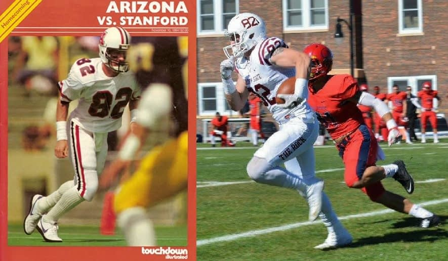 Jay Dobyns (left) during his Arizona career and Jack Dobyns as a junior this season at Chadron (Neb.) State (Dobyns family photos)