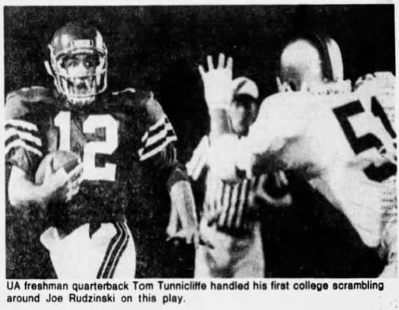 An Arizona Republic clipping from Arizona's 20-3 loss to Notre Dame in 1980, the first start in the career of Tom Tunnicliffe (12) as a true freshman. Look at his wide eyes.
