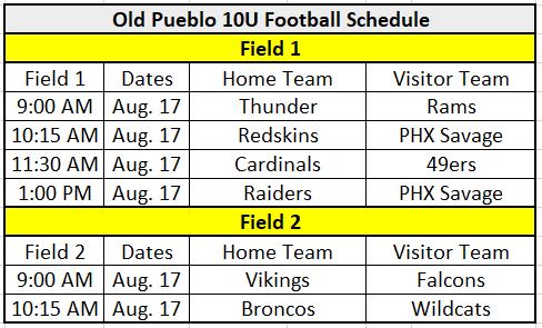 Old Pueblo Football Classic 10U Schedule