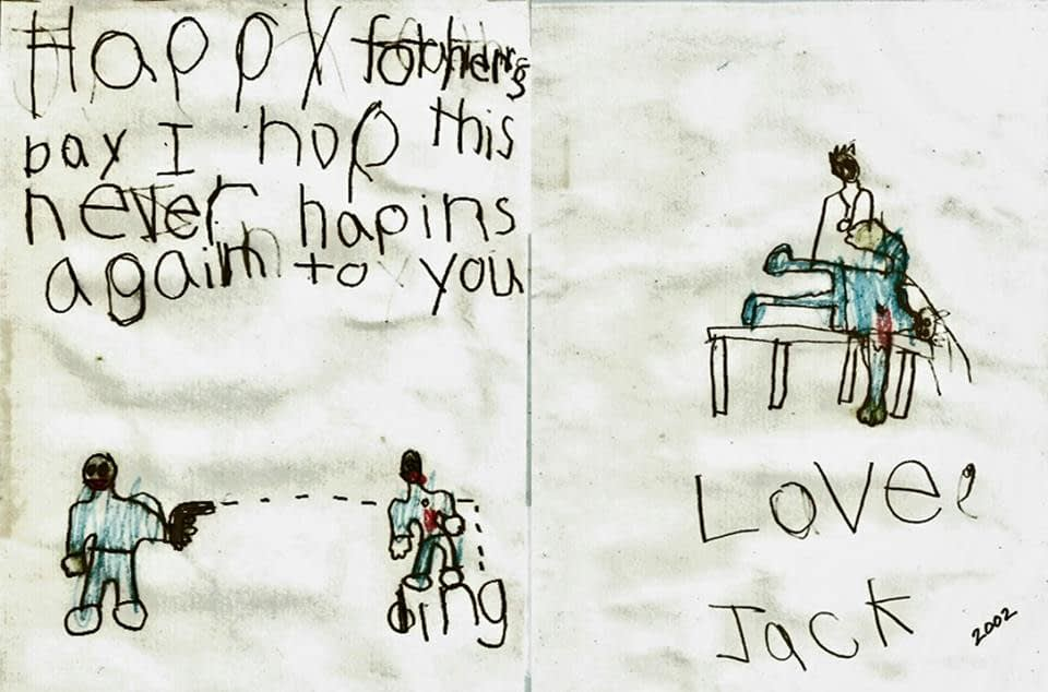 A Father's Day card presented by Jack Dobyns to his dad Jay in 2002