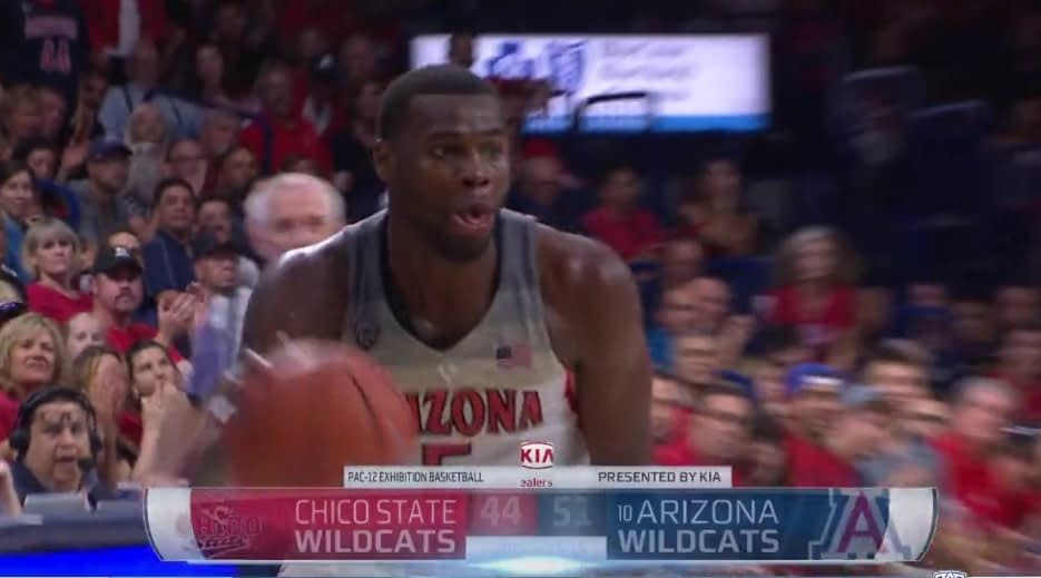 Kadeem Allen is an identifiable leader of the Wildcats after their two exhibition games (Pac-12 Networks screen shot)