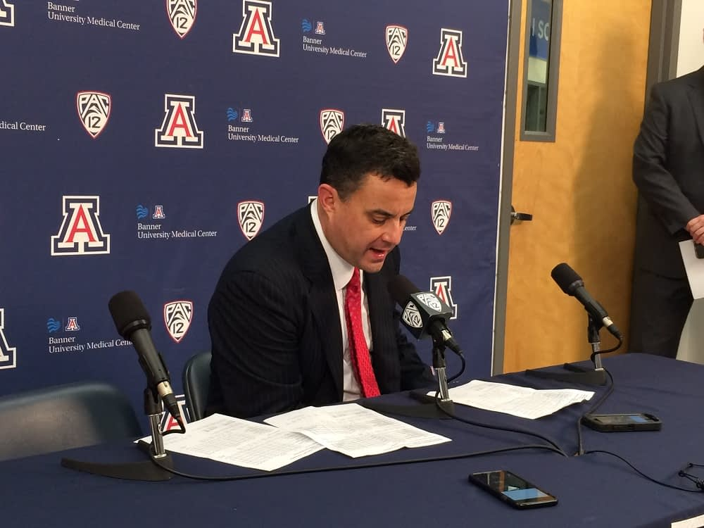 Sean Miller addresses the media after Monday's game against Northern Colorado (Steve Rivera/AllSportsTucson.com)