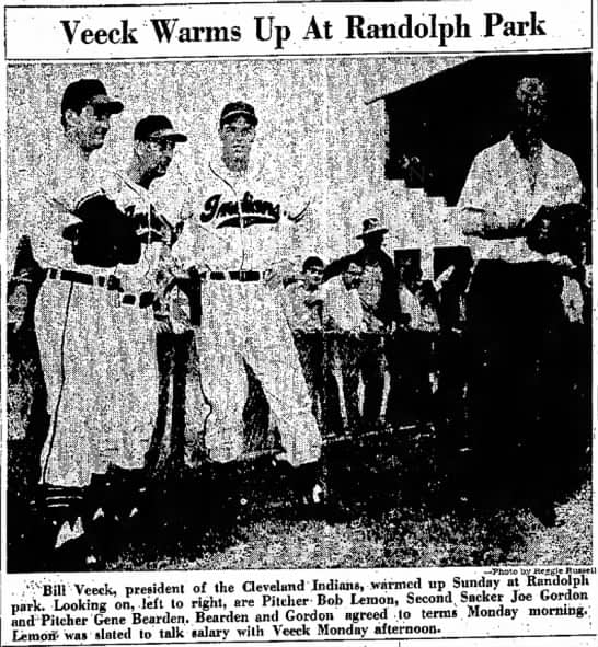 Tucson CItizen clipping of Bill Veeck standing with some Indians out the outset of the 1949 spring training season following the Indians' World Series title