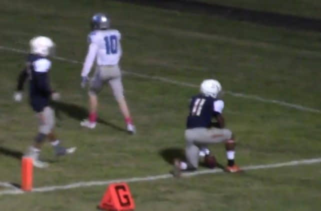 Cholla QB Jordan Porter after scoring a touchdown in a game earlier this season against Catalina Foothills (Hudl video)