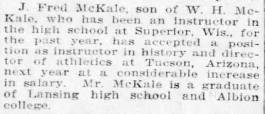 McKale-first-state-title-tucson-Lansing-State-Journal-June-10-1911
