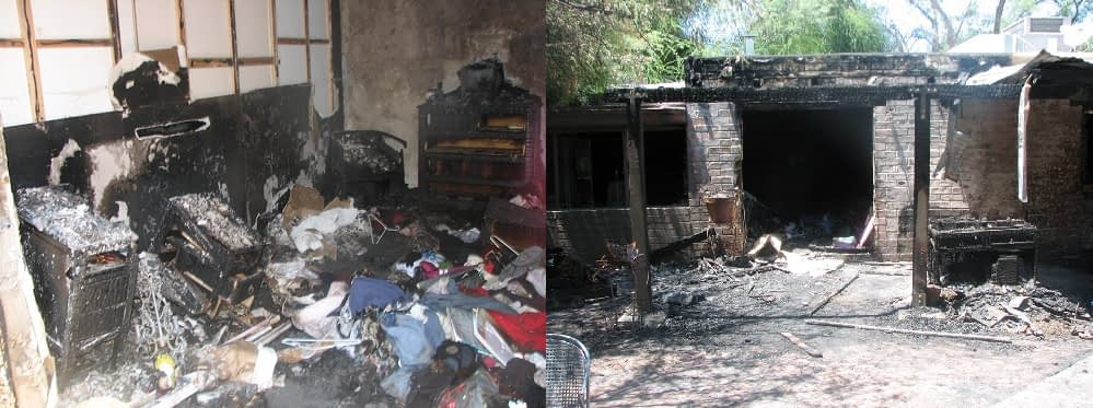 Photos from when arsonists set fire to Jay Dobyns' house in northwest Tucson in 2008 (Dobyns family photo)