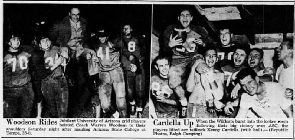 Arizona Republic clipping following Arizona's 35-0 win over Arizona State College in 1953