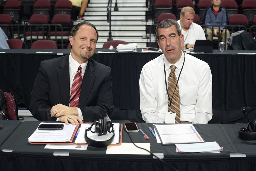 Arizona graduates Ryan Hansen (left) and Ryan Radtke broadcast the Arizona-Butler game in Las Vegas recently for the Wildcats' IMG Radio Network (Robert Scot/VirlVideo)
