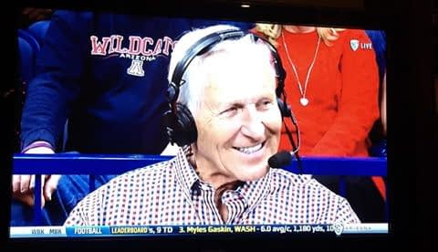 Lute Olson was a recent guest of the Pac-12 Network during an Arizona game and he and former player Matt Muehlebach talked Wildcat hoops (Pac-12 Network screen shot)